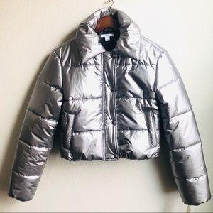 Bar III silver cropped puffer jacket